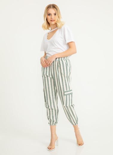 Foremia Kalın Çizgili Keten Kargo Cep Detay Pantolon Yeşil